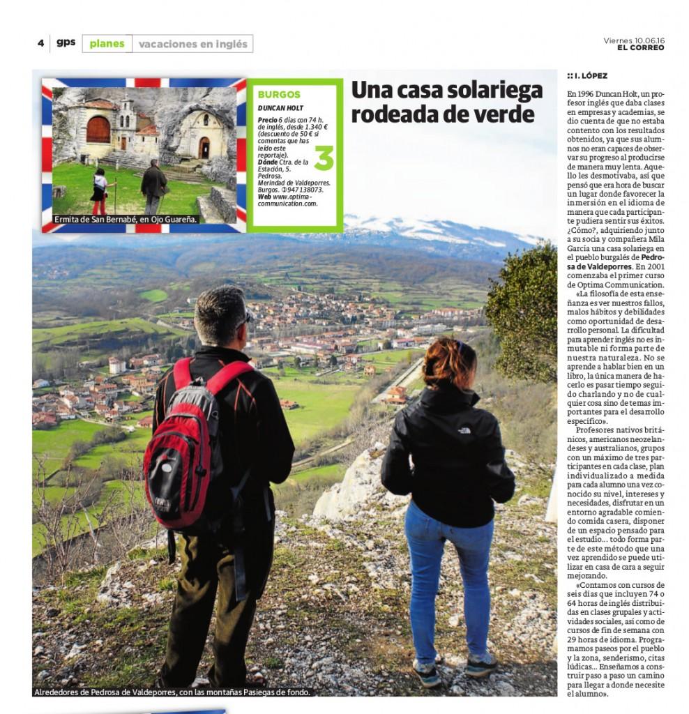 Optima Communication  Cursos de inmersión inglés en el periódico El Correo El Correo inmersión inglés en el periódico